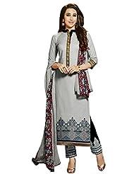 Desi Look Women's Grey Cotton Patiyala Dress Material With Dupatta - B0196AL7RE