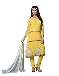 Trendz Apparels Yellow 60 Gm Georgette Straight Cut Salwar Suit
