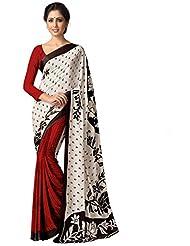 AG Lifestyle Women's Silk Saree(SD107, White & Red)