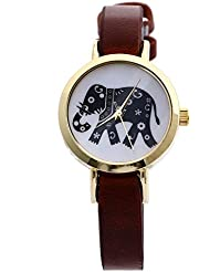 Zillion Small Elephant Print Dial Brown Strap Analog Watch For Women, Girls