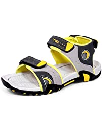 Trase Touchwood Dew Grey/Yellow Sandals & Floaters For Men