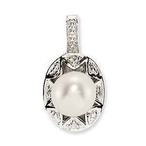Sterling Silver Diamond & Pearl Pendant