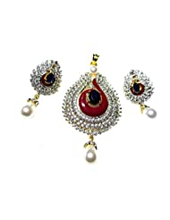 Poddar Jewels Cubic Zirconia Purple Meena / Blue / Pearl Pendant Set