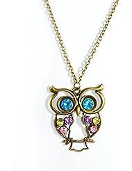 Hot Sale Vintage Crystal Owl Pendant Necklace Collier Bijoux Retro Gold Chain Rhinestone Animal Necklace Ladies...