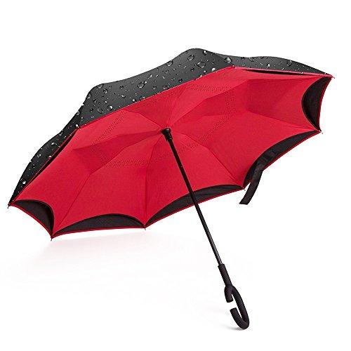 Giwox Parapluie Inversé--Style Long,Ouverture&Fermeture à Envers,Double-Toile Bicolore,Poignée Courbé de Caoutchouc,8 Baleines en Fibre de Verre Inoxy...