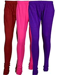 Cotton Leggings (Culture The Dignity Women's Cotton Leggings Combo Of 3_CTDCL_MM1V_MAROON-MAGENTA-VIOLET_FREESIZE)