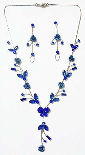 DollsofIndia Faux Saphire Studded Necklace With Blue Metal Roses With Post Earrings - Stone And Metal - Blue