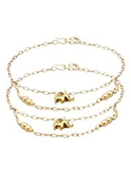 Voylla Yellow Gold Tone Anklets Pair With Elephant Motif