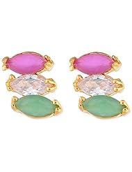 Ganapathy Gems Cz Tri Colour Stud