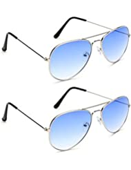 YOUNKY COMBO OF BLUE AVIATOR SUNGLASSES AND YOUNKY BLUE AVIATOR SUNGLASSES PAIR - WITH 2 BOXES