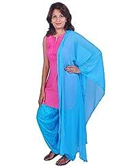 Womens Cottage Turquoise Cotton Jacquard Patiala & Chiffon Dupatta Set