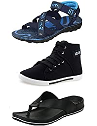 Jabra Men's Shoes, Sandals & Slipper Combo Pack Of 3