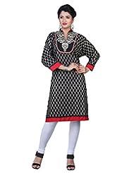 Sareeshut Black Color Cotton Fabric Readymade Printed Kurti - B00QRWL0AY