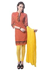 Saving Tree Red Cotton A Line Suit With Matching Contrast Legging And Dupatta