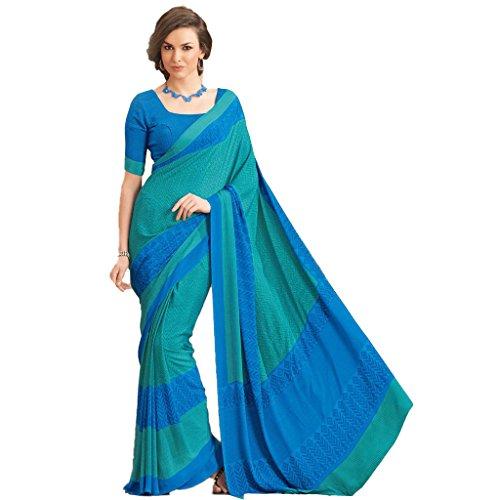 Sun Merchandise Beautiful Blue & Green Color Crape Saree