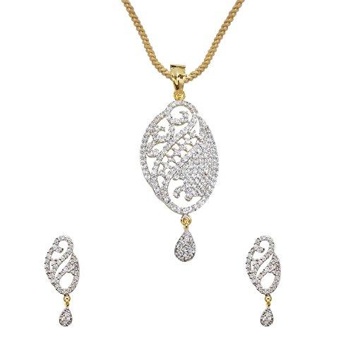 Sheetal Jewellery Silver & Golden Brass & Alloy Pendant Set For Women