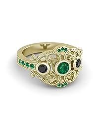 14k Yellow Gold On 925 Silver Green Emerald And Black CZ Disney Princess Mulan Engagement Ring