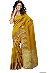 Mimosa Women'S Tussar Silk Saree With Blouse,Color:Mango Gold(3201-2080-MGLD)