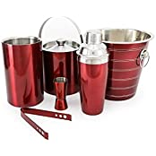 King International Stainless Steel Red Coloured Bar Set Set Of 6pcs