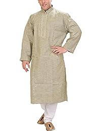 Exotic India Men's Khadi Kurta Pyjama With Thread Embroidery On Neck