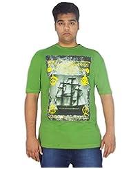 Xmex Trendy Round Neck Sinker Green Cotton Tshirt For Men