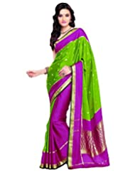 Green & Pink Crepe Silk Wevaed Saree In Golden Border & Pink Blouse-SR6106