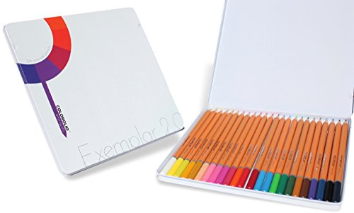 Colored Pencils for Artists. Premiere Set of 24 Art Pencils. Coloring pencils with soft lush lay down. Color Pencils for Adult Coloring Books. Exemplar 2.0 by Colorolio
