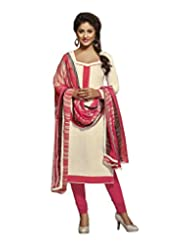 Desi Look Women's Off White Cotton Dress Material With Dupatta