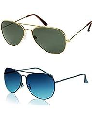 Ediotics Green And Smoke Blue Aviator Sunglasses