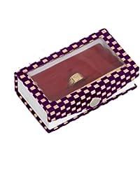 Kuber Industries™ Ring Box Full Velvet With Transparent Sheet In Velvet Check (Purple) - KI19625