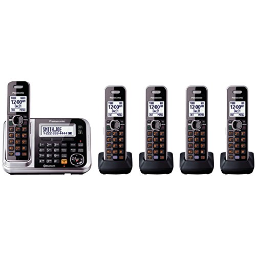 Panasonic Bluetooth Cordless Phone KX-TG7875S Link2Cell with Enhanced Noise Reduction & Digital Answering Machine - 5 Handsets (Black/Silver)