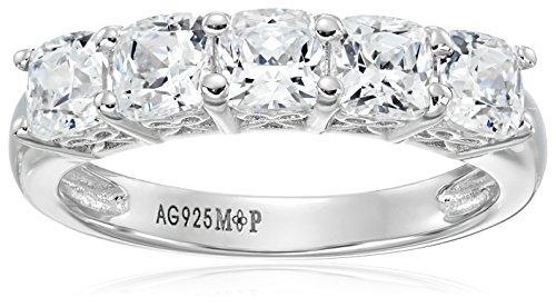 Platinum-Plated Sterling Silver Swarovski Zirconia 2 cttw Cushion 5 Stone Ring, Size 7