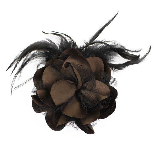 Ladies Wedding Party Coffee Color Black Mesh Flower Hairclip Brooch