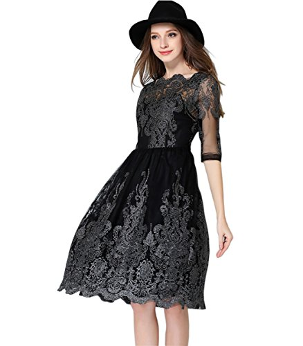 Women's Elegant Embroidery Empire Knee Length Cocktail Party Dress