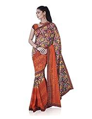 Aadarshini Women's Georgette Saree (4076, Orange And Pink)