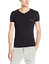 Emporio Armani Men's Stretch Cotton Classic Logo V-Neck T-Shirt