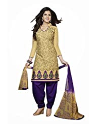 AASRI Women Party Wear Cotton Embroidered 3 Piece Unstitched Salwar Suit 4156