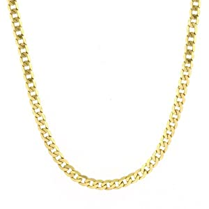 14k Yellow Gold Men's 3.85mm Cuban Curb Chain Necklace, 22