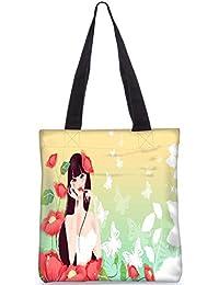 Snoogg Cute Girl Digitally Printed Utility Tote Bag Handbag Made Of Poly Canvas
