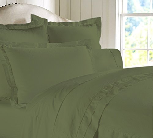"""Egyptian Cotton Luxurious Fitted Sheet With 16"""" Deep Pocket 800 TC Solid By Amrich Bedding ( Cal-King , Olive..."""