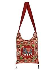 Rajrang Stylish Cotton Embroidered Elephant Maroon Sling Bag