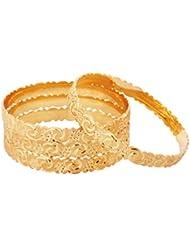 The Jewelbox Nakshi Gold Plated Kada Bangle Set Of 4 For Women