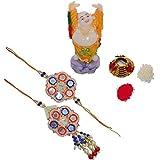 ECraftIndia Designer Bhaiya Bhabhi Rakhi Set With Feng Shui Buddha And Roli Tikka Matki