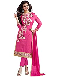 Aryan Fashion Designer Navy Pink & Cream Chanderi Cotton Embroidered Semi-Stitched Straight Suit For Women & Girls...