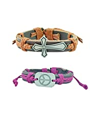 """ALPHA MAN """"Peace And Safety For Women & Faith Ancient Cross"""" Strap Faux Leather Bracelet Combo"""