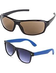 New Stylish UV Protected Combo Pack Of Sunglasses For Women / Girl ( BrownWrap-RoyalblueWayfarer ) ( CM-SUN-061 )