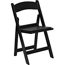 HERCULES Series 1000 lb. Capacity Resin Folding Chair Black/Black Padded Seat