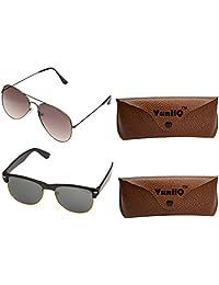 Combo Pack Of YuniiQ Black Aviators With Black Half Round Shape Unisex Sunglasses.