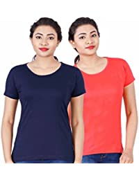 Fleximaa Women's Cotton Round Neck T-Shirt Plain (Pack Of 2) - Coral Red & Navy Blue Colors.