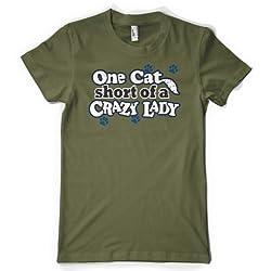 (Cybertela) One Cat Short Of A Crazy Lady Womens T-shirt Pet Lover Tee